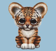 Cute Baby Tiger Cub on Teal Blue One Piece - Short Sleeve