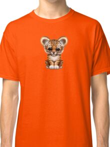 Cute Baby Tiger Cub on Teal Blue Classic T-Shirt