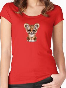 Cute Baby Tiger Cub on Teal Blue Women's Fitted Scoop T-Shirt