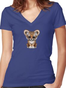 Cute Baby Tiger Cub on Teal Blue Women's Fitted V-Neck T-Shirt