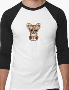 Cute Baby Tiger Cub on Teal Blue Men's Baseball ¾ T-Shirt