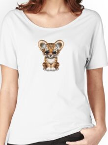 Cute Baby Tiger Cub on Teal Blue Women's Relaxed Fit T-Shirt