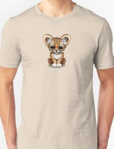 Cute Baby Tiger Cub on Teal Blue Unisex T-Shirt