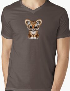 Cute Baby Tiger Cub on Teal Blue Mens V-Neck T-Shirt