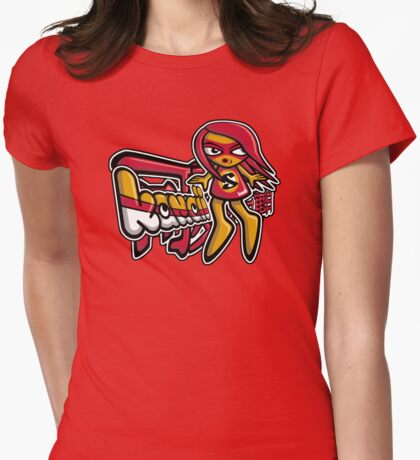 Sneaky Mascot Tag Womens Fitted T-Shirt