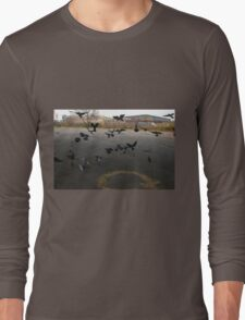 Pigeons Flight in Montreal Suburb. Long Sleeve T-Shirt