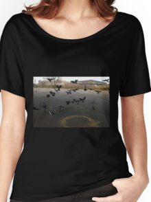 Pigeons Flight in Montreal Suburb. Women's Relaxed Fit T-Shirt
