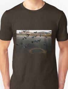 Pigeons Flight in Montreal Suburb. Unisex T-Shirt