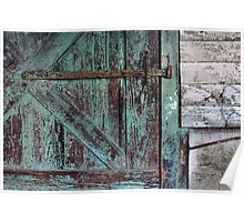 Weathered Green Door Poster