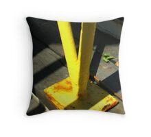Yellow Railing Close Up Throw Pillow