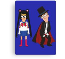 Tina Moon and Buttedo Mask Canvas Print
