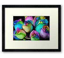 Rainbow Rose Bouquet Framed Print