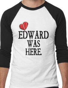 Twilight Edward Was Here Broken Heart T-Shirt Men's Baseball ¾ T-Shirt
