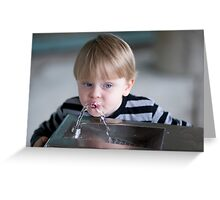 Boy and a bubbler  Greeting Card