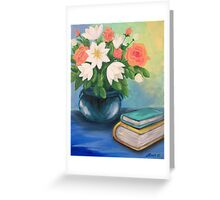 Books and Flowers Greeting Card