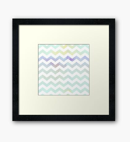 Grungy cool pastel chevrons. Framed Print