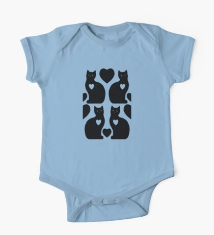 Cats Hearts (Blue/Black) One Piece - Short Sleeve