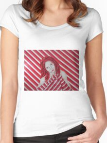 stripey Women's Fitted Scoop T-Shirt