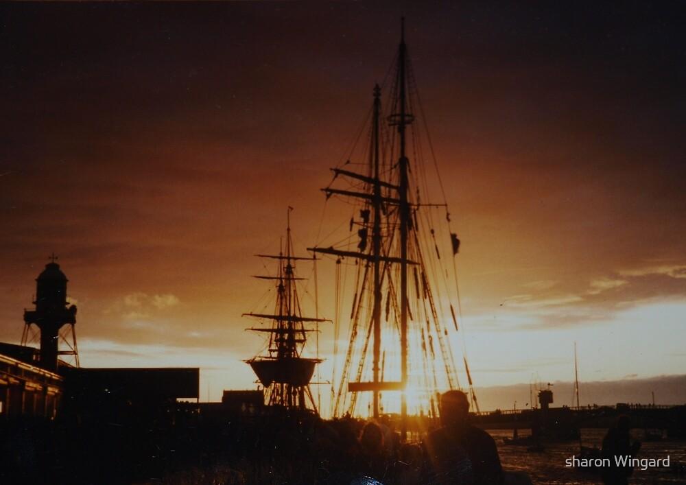 tall ship at sunset by sharon wingard