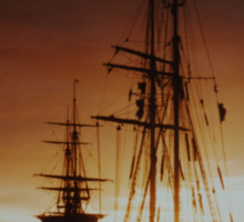 tall ship at sunset Sticker