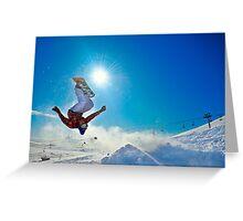 Snowboarding (Upside down) Greeting Card
