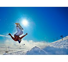 Snowboarding (Upside down) Photographic Print