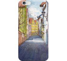 Narrow alley in Regensburg, Germany iPhone Case/Skin