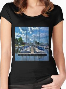 Sailboats Painted 2 Women's Fitted Scoop T-Shirt