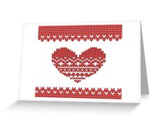Red Knitted Look Love Heart  Greeting Card