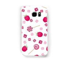 Raspberry lollipops, candy and chewing gum seamless pattern background Samsung Galaxy Case/Skin