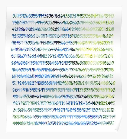 Digits of Pi (Green & Blue) Poster