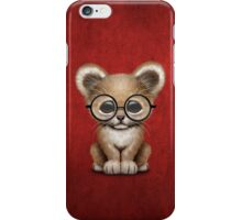 Cute Baby Lion Cub Wearing Glasses on Red iPhone Case/Skin