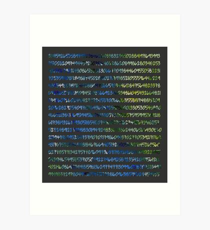 Digits of Pi (Green & Blue on Grey Background) Art Print