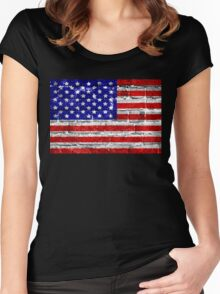 USA Flag Brick Wall Women's Fitted Scoop T-Shirt