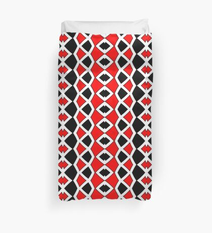Decorative Red Black and White Pattern Duvet Cover