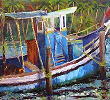 Blue Fishing Boat, Kerala by Sandra Hansen