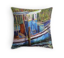 Blue Fishing Boat, Kerala Throw Pillow
