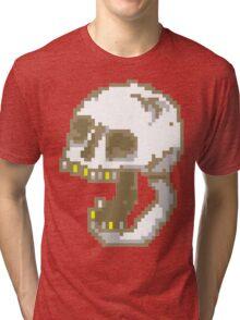 8-Bit Yelling Skull. Tri-blend T-Shirt