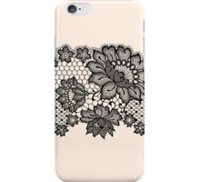 Horizontal black lace ribbon. iPhone Case/Skin