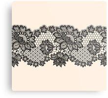 Horizontal black lace ribbon. Metal Print