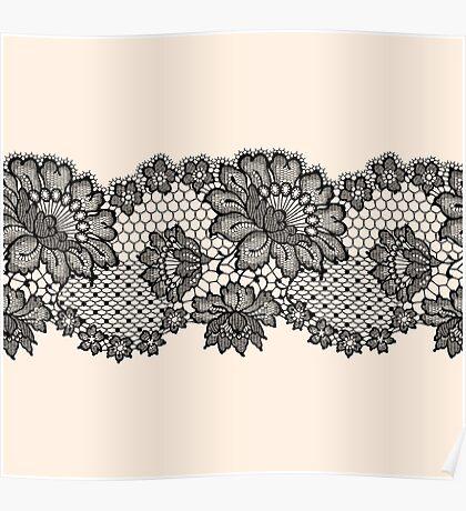 Horizontal black lace ribbon. Poster