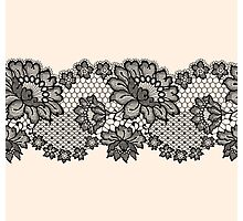 Horizontal black lace ribbon. Photographic Print