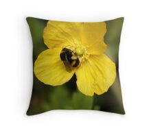 Yellow Poppy and Bumble Bee Throw Pillow