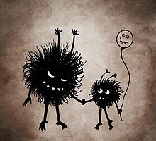 Evil Cartoon Bug Mother And Child by Boriana Giormova