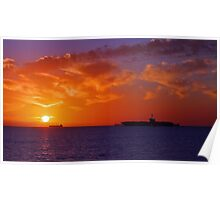 USS George Washington At Sunset  Poster