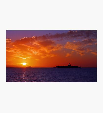 USS George Washington At Sunset  Photographic Print