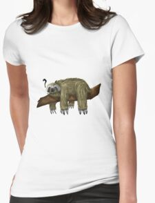 Confused Sloth Womens Fitted T-Shirt