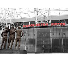 Manchester Utd Trinity salute Sir Matt Busby and Old Trafford Photographic Print
