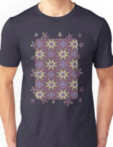 Yellow Flowers and Amethyst Diamonds Repeating Pattern Unisex T-Shirt
