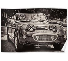 Old vintage British convertible car Austin Poster